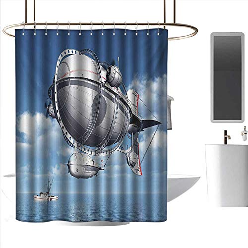 coolteey Shower Curtains Gray and Pink Zeppelin,Giant Aircraft Over The Sea Flying in Cloudy Sky Adventure Journey Image,Violet Blue Grey,W48 x L72,Shower Curtain for Shower stall