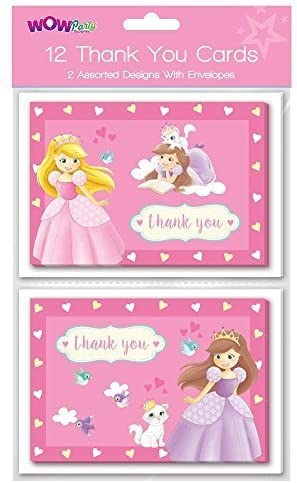 WOW Pack of 12 Princess Thank you cards 2 Assorted designs Greeting Cards
