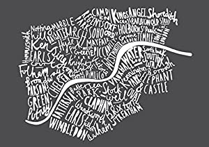 Typographical Map Of London Print