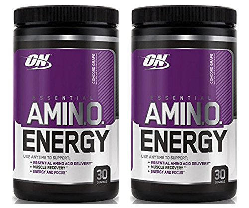 Optimum Nutrition Essential Amino Energy for Focus + Muscle Recovery   2 Pack Concord Grape Flavor (30 serv Each) (Concord (Energy Grape Flavor)