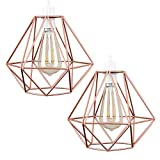 Cheap 2pcs Vintage Pendant Light, Motent Industrial Modern Minimalist Diamond Cage Hanging Lamp. Creative Iron Wrought 1-Light DIY Lighting Fixture with No Bulb, 7.8″ Dia for Kitchen Loft Resturant – Copper