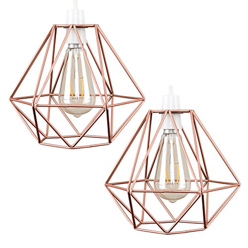Cheap 2pcs Vintage Pendant Light, Motent Industrial Modern Minimalist Diamond Cage Hanging Lamp. Creative Iron Wrought 1-Light DIY Lighting Fixture with No Bulb, 7.8″ Dia for Kitchen Loft Resturant – Copper