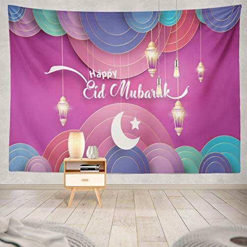 WAYATO Moon Wall Hanging Tapestry, 80 X 60 Inch Eid Mubarak Greeting Card Ramadan Kareem Cartoon Islamic Festival Banner for Home Decorations Bedroom Dorm Decor