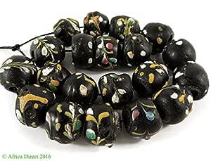 20Fancy Venetian Trade cuentas negro floral África Loose