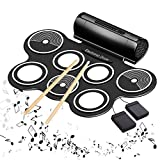 Electric Drums for Kids Roll Up Beginner Drum Set Practice Drum Pad USB MIDI Built in Speaker Drum Pedals Musical Instrument Little Drummer Gifts
