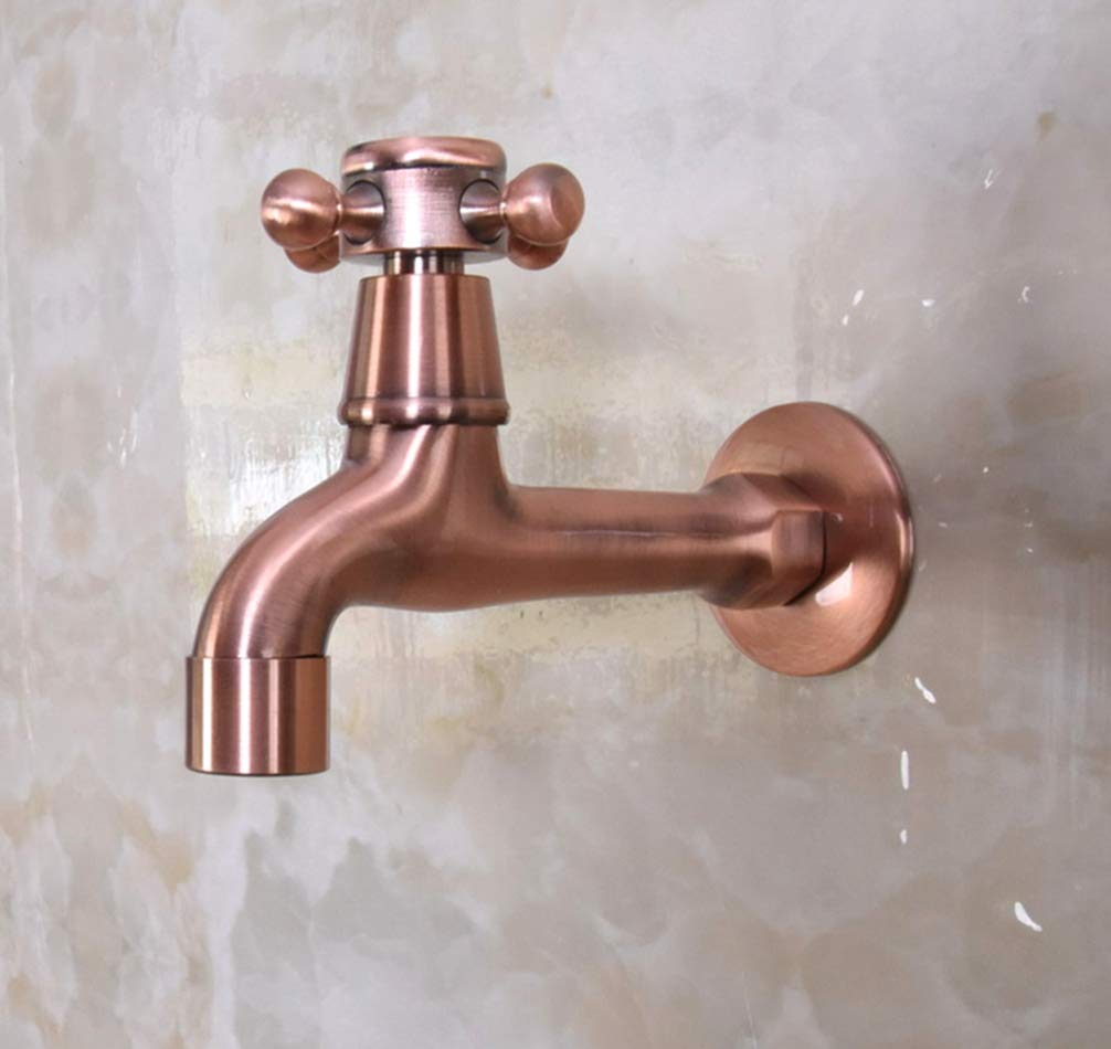 FZHLR Antique Red Copper Cross Handle Garden Faucet∕ Wall Mounted Taps ∕Bibcocks Cold Water Faucet ∕Mop Pool Taps