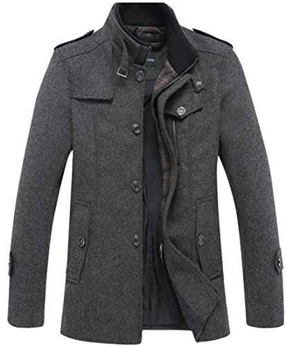 M&S&W Men's Thicken Single-Breasted Stand Collar Long Sleeve Wool Coats Gery