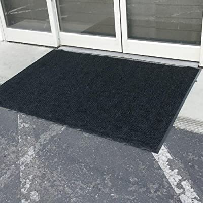 "Rubber-Cal ""Chevron Rib"" Commercial Carpet Mats - Entrance Matting Available in 6 Sizes - 4 Colors Brown, Blue, Burgundy, Charcoal"