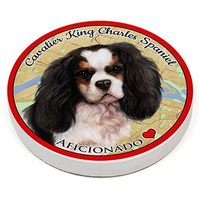 (Cavalier King Charles Spaniel Tricolor) Pet Gifts Coaster Buddies, Dogs & Cats, Car & Truck Cup holder, Absorbant Ceramic, 2.65 Inch Size - Cavalier Spaniel Tri Color