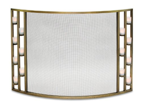 Pilgrim Home and Hearth 18341 Candlewood Tea Light Bowed Fireplace Screen, Antique Brass, 44″W x 31″H, 22 lbs,