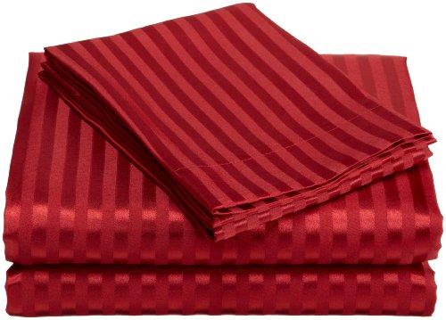 Divatex Home Fashions Royal Opulence Woven Satin Stripe California King Sheet Set, Red