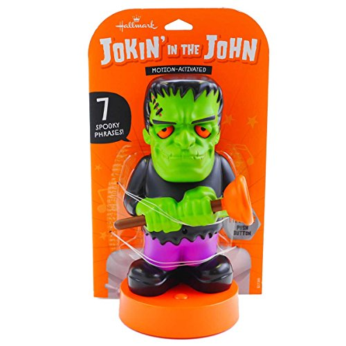 Hallmark Jokin' in the John Halloween Figurine, Flush-N-Stein, Motion Activated (Candy Frankenstein)