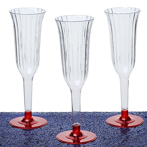 Efavormart Disposable Plastic Champagne Flutes Red product image