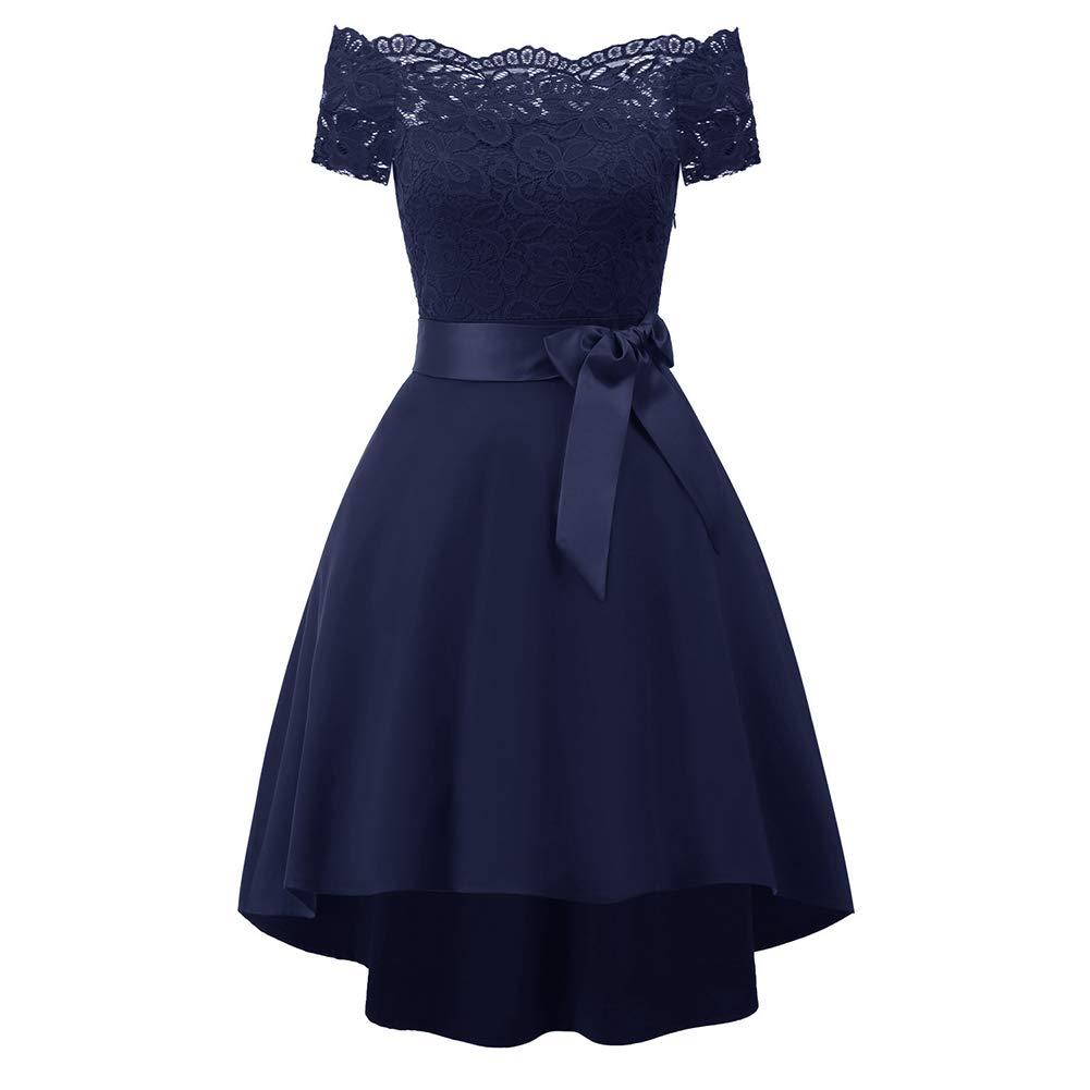 bluee Women Off Shoulder Lace Dress Strapless Party Dress ALine