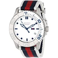 """Gucci """"G Timeless"""" Stainless Steel Unisex Watch with Canvas Band(Model:YA126239)"""