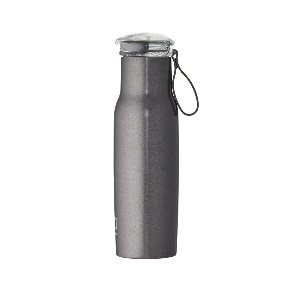 Built NY Double Wall Stainless Steel Water Bottle with Tritan Flip Top Lid, 18-Ounce, Charcoal