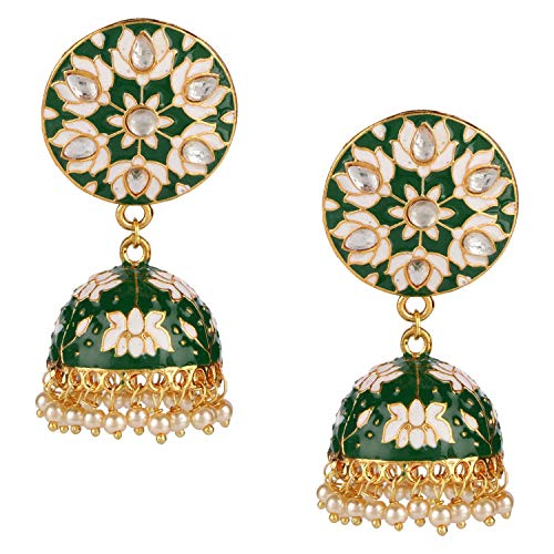 Efulgenz Indian Bollywood 14K Gold Plated Traditional Wedding Green Jhumka Jhumki Earrings Jewelry Set by Efulgenz