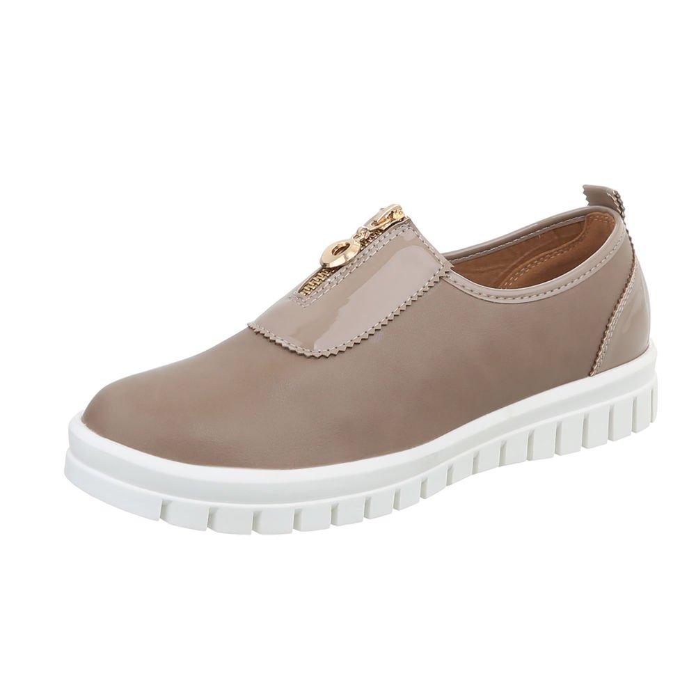 Ital-Design Scarpe da Donna Sneaker Piatto Sneakers Low Bronzage J5e