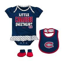 Montreal Canadiens Newborn Girls Little Sweetheart 3-Piece Creeper, Bib & Bootie Set