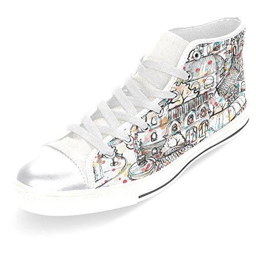 Interestprint Femmes Toile Chaussures Haut Haut Formateurs Chaussures Plates Lace Up Sneakers Fashion Forme Vieille Ville Blanc