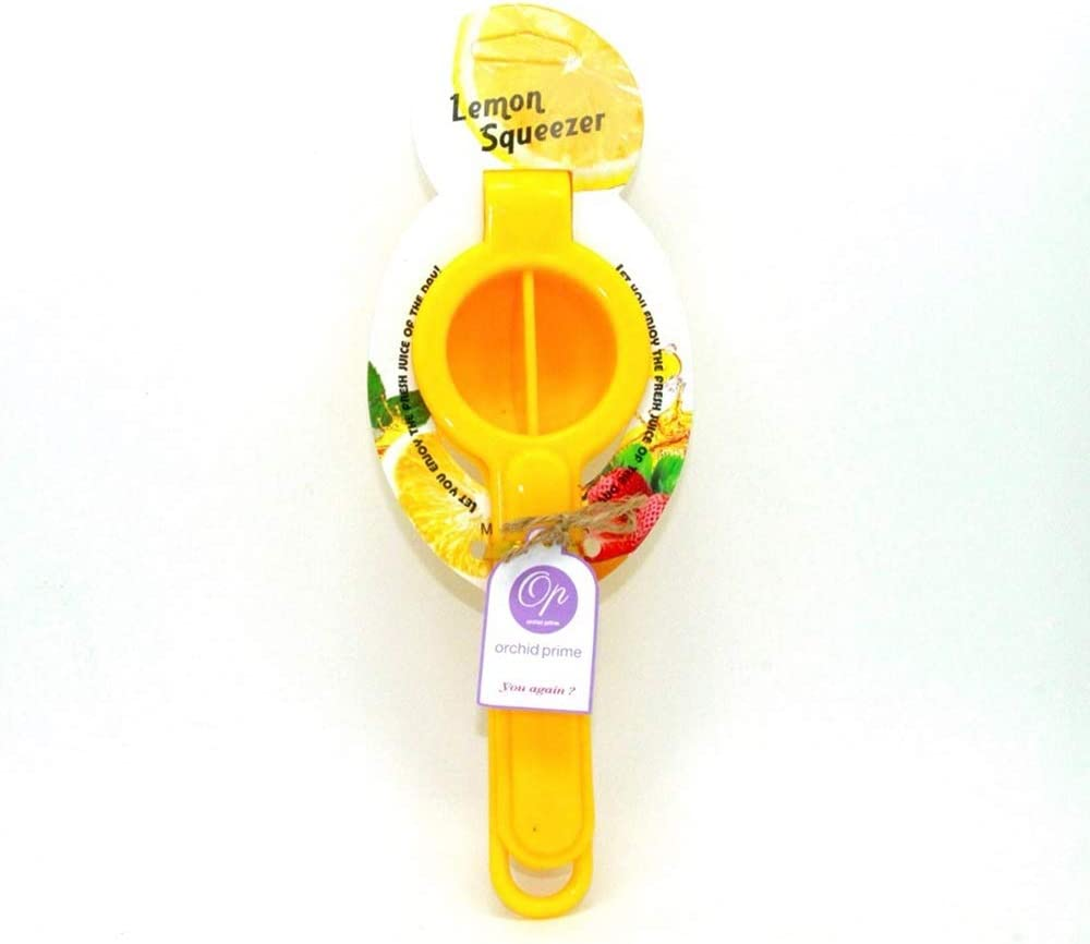 Orchid prime Lightweight Economic Lemon Squeezer with Top Hanger, Citrus, Lime, Orange Juicer, Manual Press for Extracting, Premium Plastic, Unbreakable, Save Space Easy Carry, Traveling, (Yellow)
