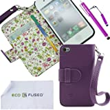 ECO-FUSED Bling Floral Interior Leather Case Cover for Apple iPhone 4G/4S with inner Flora print / One Lanyard / Two Stylus (Purple) / 2 Screen protector / Eco-Fused Microfiber Cleaning Cloth Included (Purple)