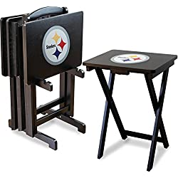 Imperial Officially Licensed NFL Merchandise: Foldable Wood TV Tray Table Set with Stand, Pittsburgh Steelers