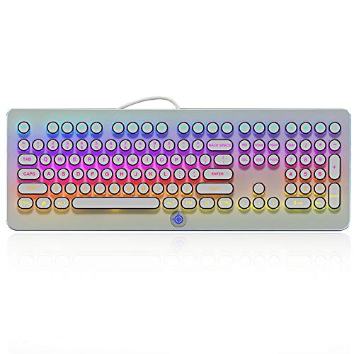 MK9 RGB Mechanical Keyboard RGB Retro Gaming Keyboard-Blue Switch-LED Backlit - Silver-Plating 108 Key Round Keycaps Anti-Ghosting Mechanical Illuminated Keyboard for PC Gaming and MAC (White) (Windows 7 Vs Windows 10 Performance Old Pc)