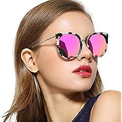 Gafas De Sol De Ojo De Gato De Gran Tamaño Para Las Mujeres, Lente Espejada Polarizada De Moda, Templo De Metal UV400 Para La Pesca De Conducción (Lente rosa flor marco)