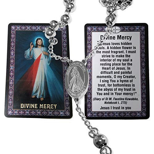Unique Divine Mercy Catholic Rosary Stainless Steel Beads 24