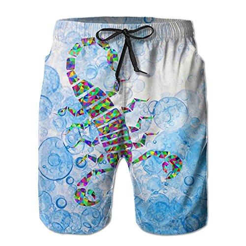 - Men's Abstract Colorful Scorpion Rainbow Swim Trunks Boardshorts with Pokets Beach Shorts XX-Large