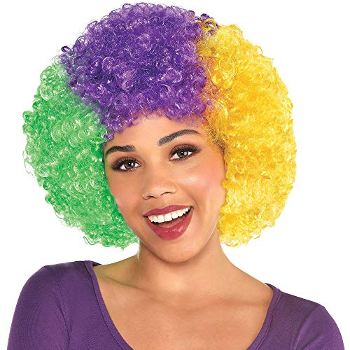 Amscan Mardi Gras Afro Wig, Carnival Party Costume Accessories, One Size, Synthetic Fibers ()