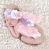 Baby Girl Feather Angel Wings Rhinestone Headband Set Chiffon Flower Headband Hair Accessories Newborn Photo Prop Costume