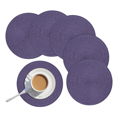 Homcomoda Round Placemats, Round Placemats for Kitchen Table PP Woven Heat Insulation Round Table Mats Set of 6-15 Inch (Purple)
