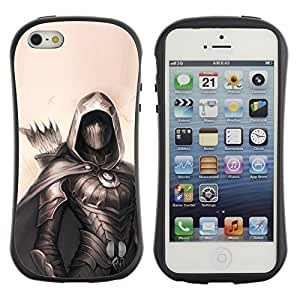 Fuerte Suave TPU GEL Caso Carcasa de Protección Funda para Apple Iphone 5 / 5S / Business Style archer painting black hero beige arrow