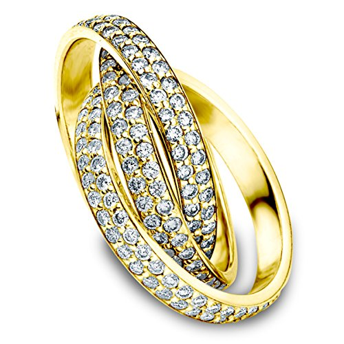 18K Yellow Gold Diamond Rolling Eternity Ring (3.0 cttw, F-G Color, VVS1-VVS2 Clarity) Size 13