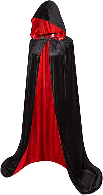 Unisex Adult Red Ridding Hooded Velvet Cape Cloak Halloween Outfit