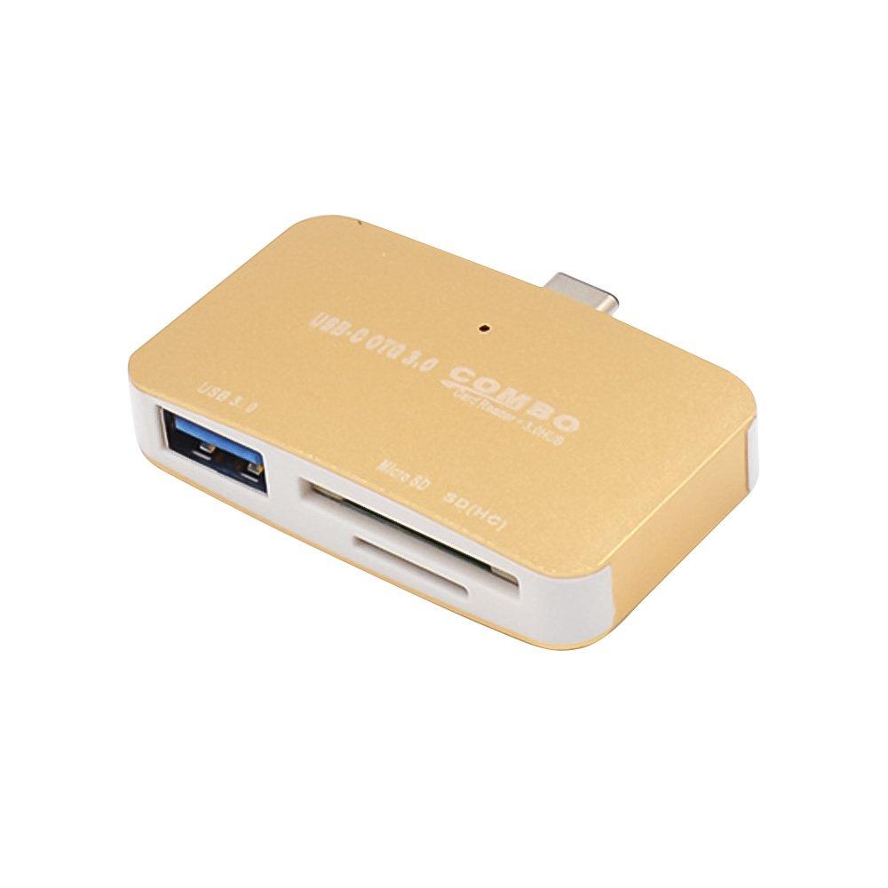 Refaxi 1PC Multi Media Card Reader/Writer FCR-HS4 USB 3.0 Micro SD / SD Card (Gold)