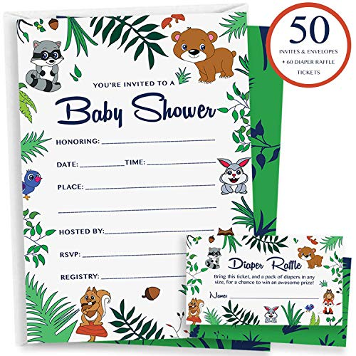 50 Woodland Baby Shower Invitations - Diaper Raffle Cards & Envelopes | Gender Neutral Party