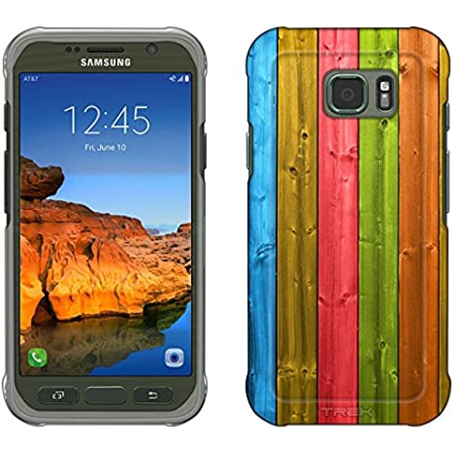 Samsung Galaxy S7 Active Case, Snap On Cover by Trek Shiny Neon Wood Panels Slim Case Sales