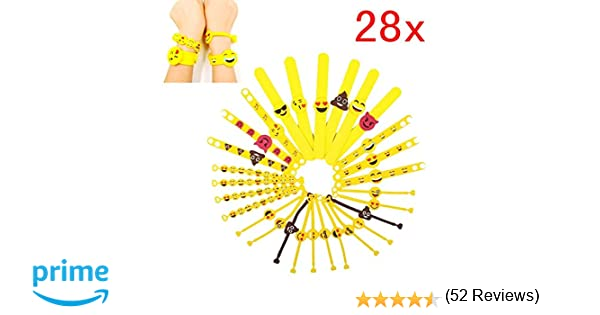 JZK 28 x Emoji Slap Pulsera Goma Banda emoticonos Pulsera Silicona para niños Adultos Fiesta favores niños cumpleaños Regalo Partido suministra ...