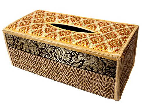 CCcollections Tissue Box A Cover case Sheath Natural Reed Wicker ECO Sustainable Material Plush Silk Trim Elephant Side (B Beige) ()