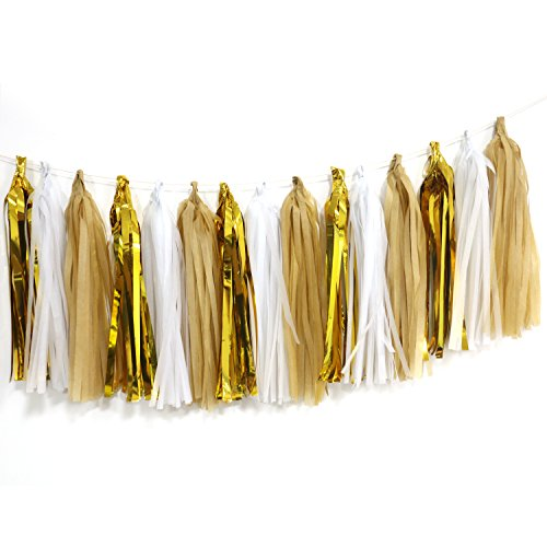 Tissue Paper Tassel Garland, Regmtme 15pcs Party & Wedding Decoration Paper Tassels (Brown Streamer)