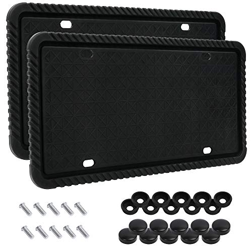 LotFancy Silicone License Plate Holder, 2PCS License Plate Frames with Mounting Accessories, Universal American Car Plate Cover, Black, Rust-Proof, Weather-Proof and Rattle-Proof