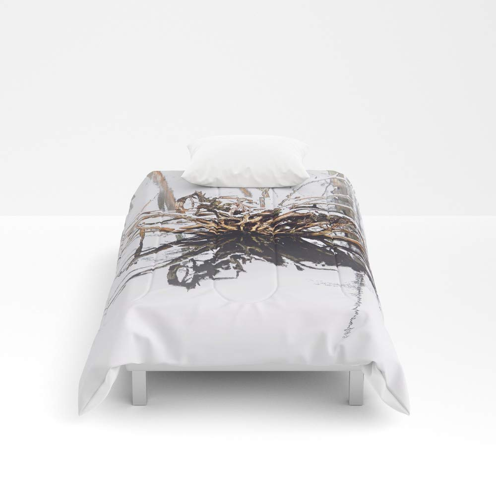 Society6 Comforter, Size Twin XL: 68'' x 92'', Wood Snow Swamp by bavosiphotoart