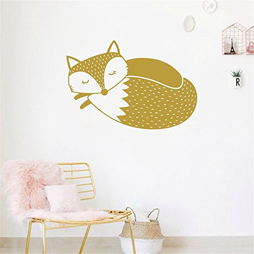 Gails Wall Decal Peel and Stick Removable Wall Stickers Cute Woodland Fox Sleepy Fox for Kids Room Nursery Stickers Muraux