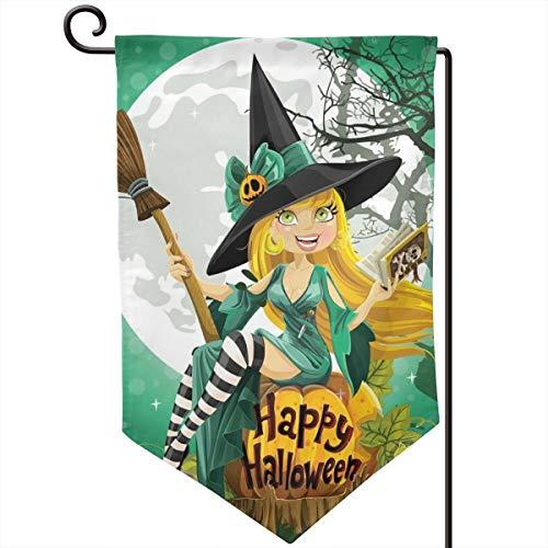 lsrIYzy Garden Flag,Cheerful Smiling Girl in Halloween Costume On A Pumpkin Giant Moon Woodland,12.5x18.5 inch -