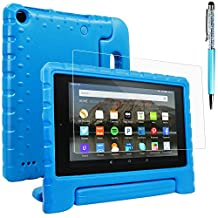 Case for All-New Fire 7 2017 and 2015 with Screen Protector and Stylus, AFUNTA Convertible Handle Stand EVA Protective Case and PET Film for Amazon 7 inch Tablet (7th and 5th Generation) - Blue