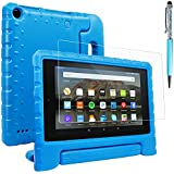 Case Compatible All-New Fire 7 2017 and 2015 with Screen Protector and Stylus, AFUNTA Convertible Handle Stand EVA Protective Case and PET Film Compatible Amazon 7 inch Tablet (7th and 5th Generation) - Blue