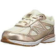 New Balance Girls' 990v4 Running Shoe, Gold/White, 2 M US Infant